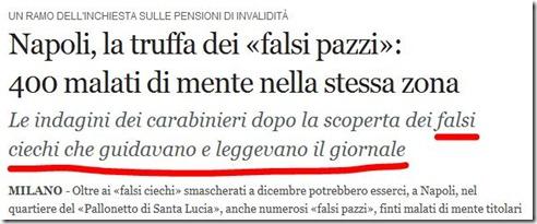 Napoli: falsi ciechi che leggevano il giornale